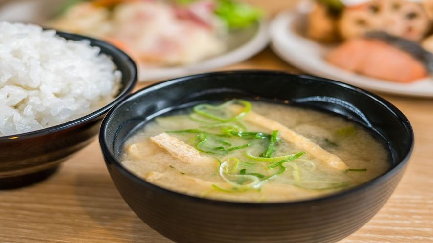 【Organic】お客様の健康を考えて、有機大豆の味噌汁をご用意