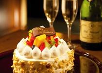 デコレーションケーキ&シャンパン