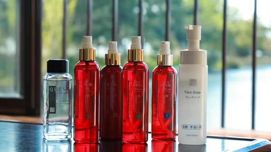 *【客室・アメニティ】化粧水・乳液・洗顔など各種お部屋にご用意いたしております。