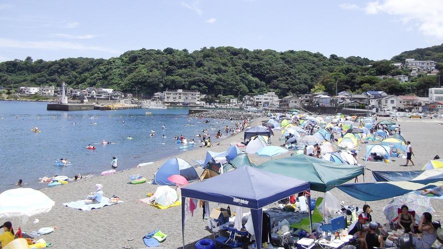 *[イルカ浜/車で約10分]砂利で波の静かな美しい浜。海水がとてもきれいでシャワーや更衣室もあります