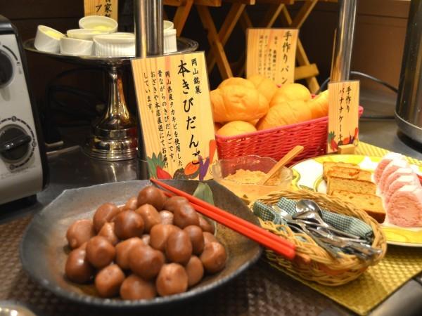 《ご朝食》岡山名物きびだんごをデザートにどうぞ。