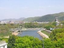 東側上層階から眺める岡山城。
