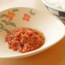 神楽南蛮味噌程よく熟した赤南蛮のまろやかな辛さと、奥に広がる深い味が絶品です(朝食ブッフェ)
