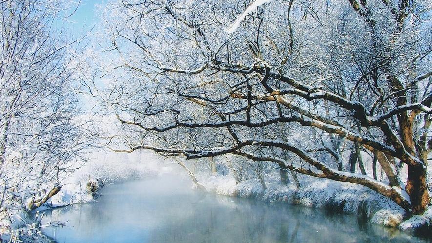 *[朝靄の万水川]寒い冬の時期ならではの幻想的な風景