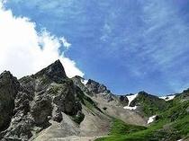 7月の杓子岳の鋭鋒