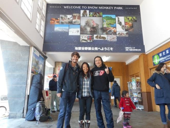 湯田中駅構内で、サヨナラ記念撮影♪
