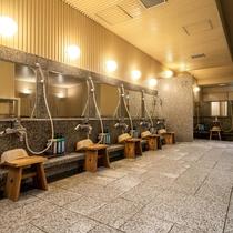 【洗い場:小浴場】アメニティなども洗い場に完備