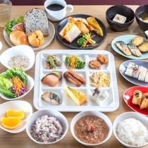 【朝食盛り付け】和洋取りそろえた朝食で一日を元気に!!