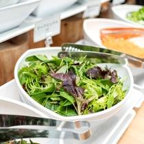 サラダコーナー【朝食】新鮮で栄養価の高い野菜をオリジナルドレッシングと合わせてお召し上がりください。