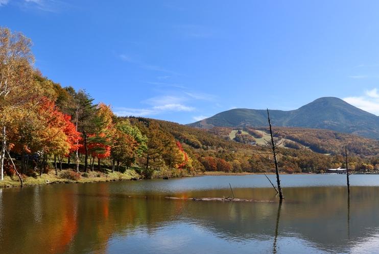 秋 紅葉の湖畔