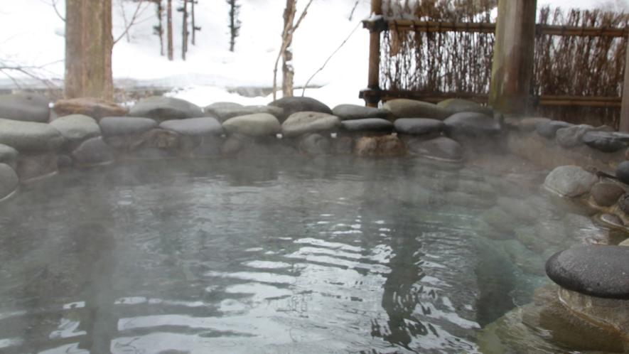 【冬】山の湯・石湯露天でゆっくりあたたまる…