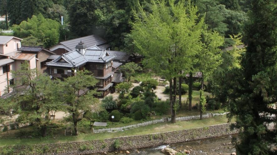 自然に囲まれた嵐渓荘の全景