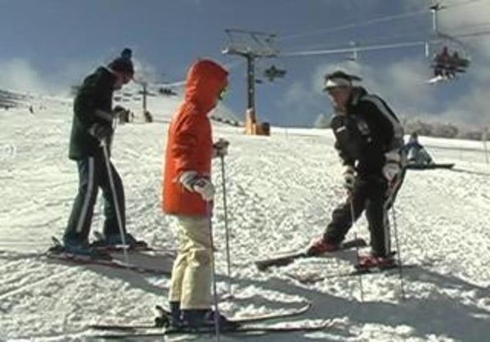 オーナーによるスキーレッスン風景