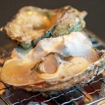 玄界灘で獲れた新鮮な牡蠣とサザエ