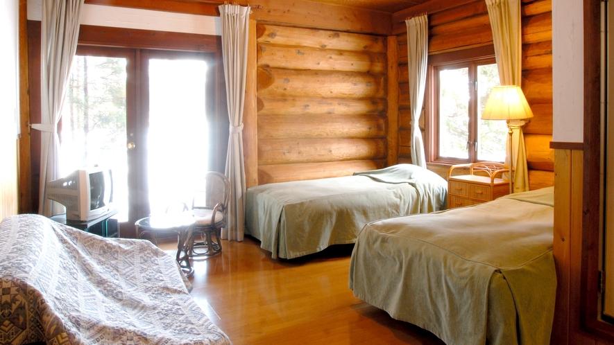 【新館ログホテル】1階ツインルーム25平米一例※3名様の場合ソファーベッド又はロフト