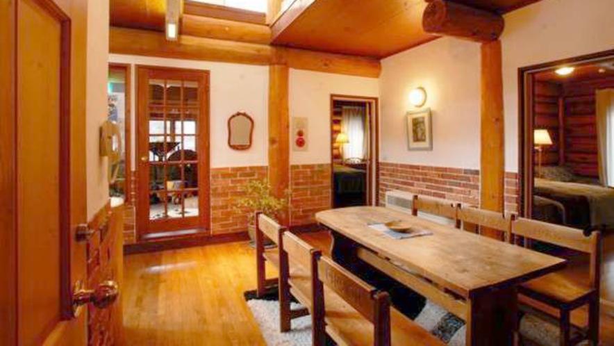【新館ログホテル】木材のぬくもりあふれる館内