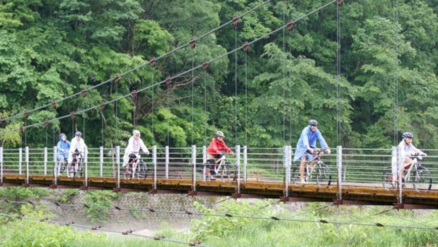 【サイクリング】姫川の吊り橋を渡る