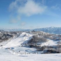 Alpbachからの景色は最高!目の前ゲレンデだから往復滑って楽々移動できます。