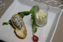 鮭のムースとサツマイモのムース