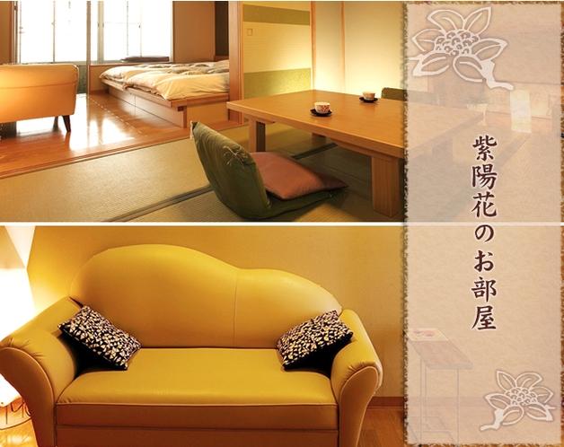 陶器風呂付和洋室「紫陽花」のお部屋