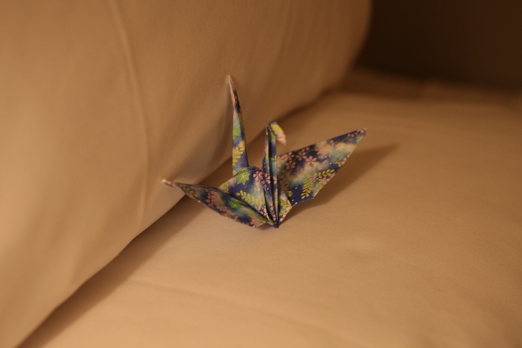 折鶴でお客様をお出迎え
