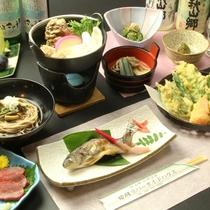 ☆夕食は鍋・焼き魚・そば・天麩羅など種類豊富な郷土の味をご用意いたします。