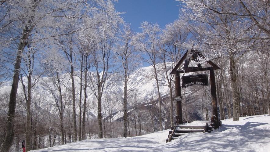 *[白馬の景色・冬]白馬岩岳スノーフィールドシャトルバス乗り場まで徒歩1分