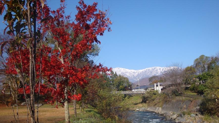 *[白馬の景色・秋]周辺には紅葉狩りを堪能できるスポットが点在