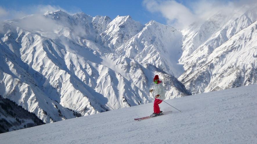 *[白馬の景色・冬]雄大な北アルプスの絶景をバックに気分爽快