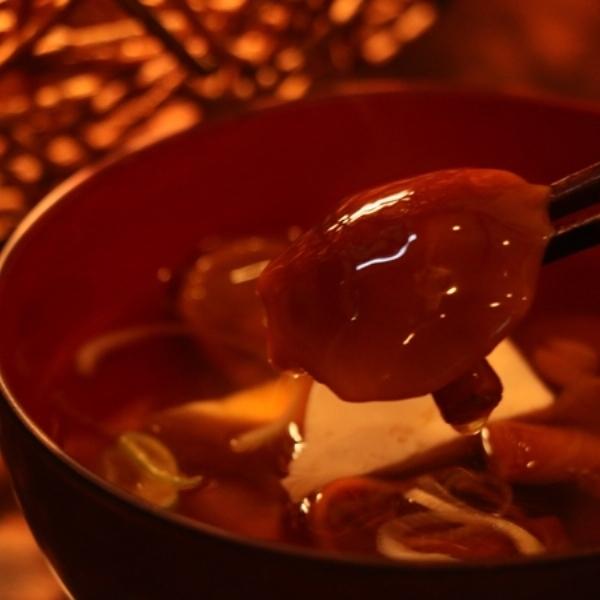 夕食(天然なめこのお味噌汁)
