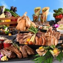 ボリューム満点の大人気ディナーブッフェ♪スタミナ満点お肉料理やタコスバー、キッズボードもご用意☆