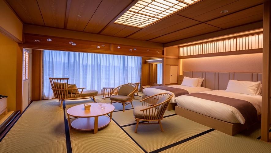 【露天風呂付和モダンスイート】最上階64平米◆禁煙 NEW