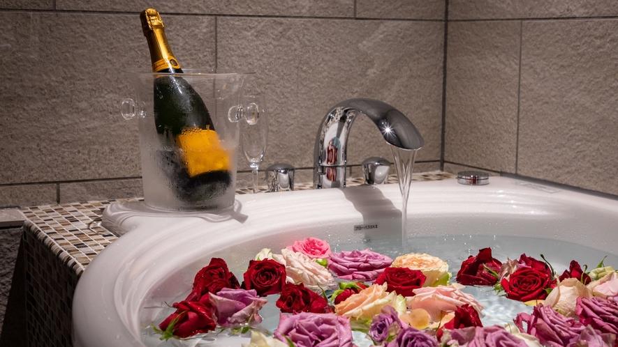 バラ風呂(オプション)【ジャグジーバス付和モダンスイート】47平米◆禁煙 NEWにて