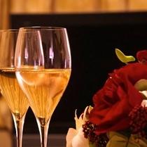 シャンパンとバラ