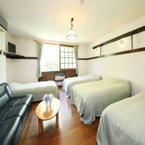 広めの洋室:ソファーベッドを使えば5名様まで利用可。ご家族やグループで。