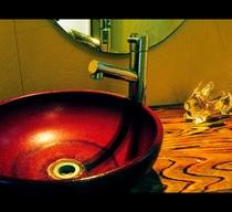 *和のテイストをふんだんに取り入れた洗面