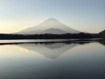 ふじみ荘から見える精進湖と富士山です。