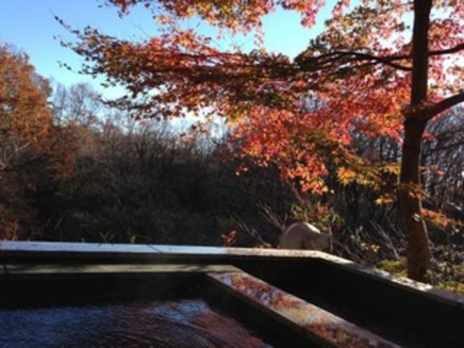紅葉時期の露天風呂