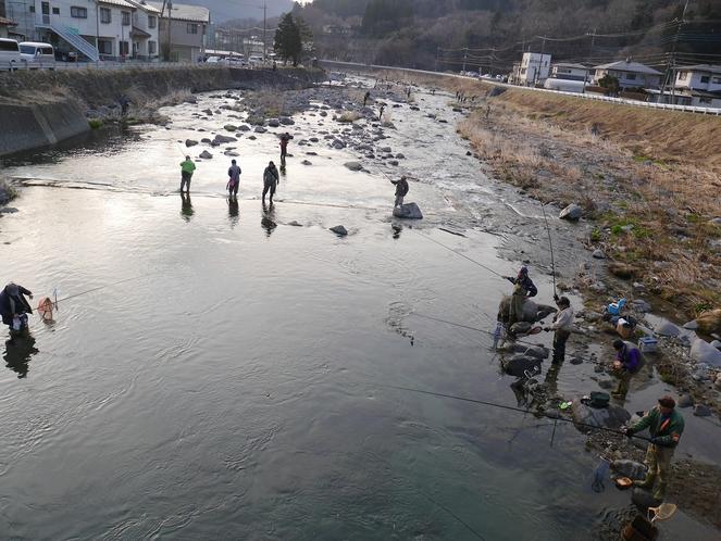 箒川で釣り