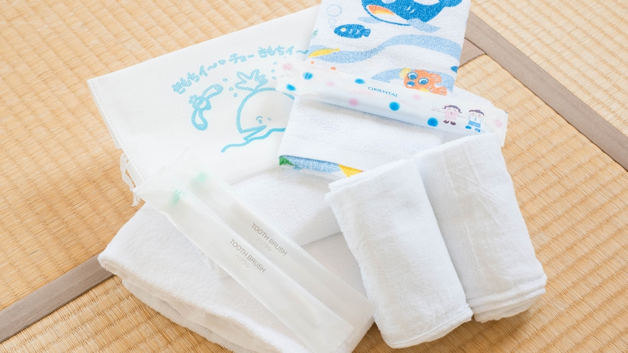 *お部屋のアメニティ/かわいい袋に入ったお子様用にアメニティもございます。