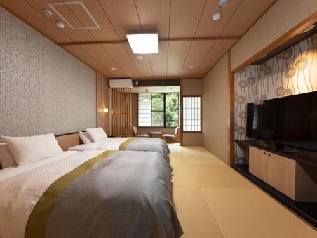 【禁煙和室ツイン】川側シモンズ製ベッドの客室(10畳)