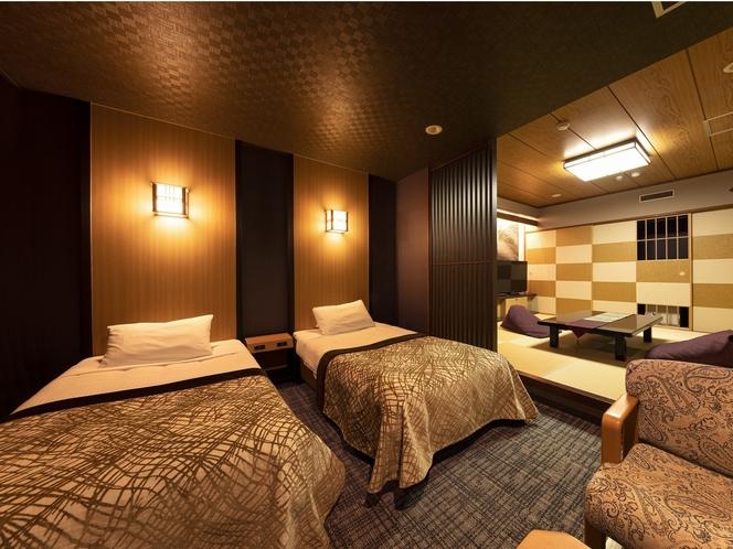 【和洋室一例】ベッド2台の洋室+6畳以上の和室。客室毎に異なる造り