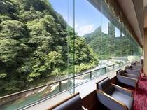 ロビーからは原生林と渓流美を眺めることができます