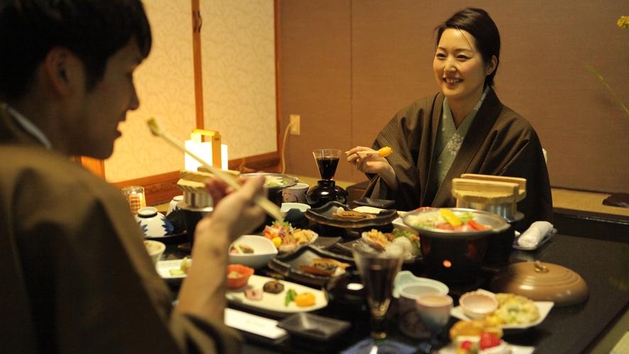 【お部屋食】周りを気にすることなく、ゆっくりと食事の時間をお楽しみください♪