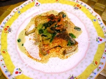 きのこと青野菜の魚のソティ(季節によりアレンジ)