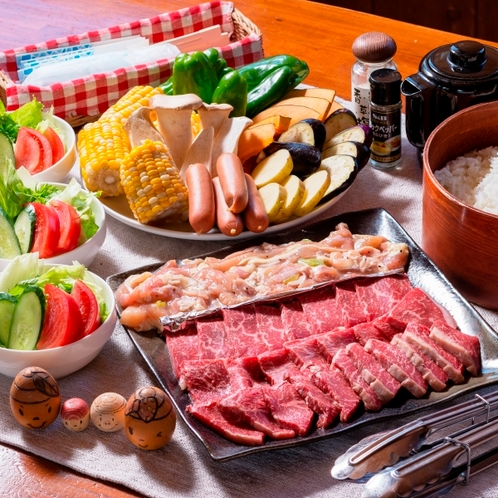スタンダードプランの夕食一例 信州牛&信濃鶏の炭火焼き