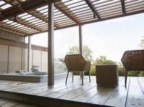 【露天風呂付:和モダン洋室260号室】専用露天風呂と36平米のテラスで上質な寛ぎを追及しました