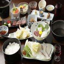 御崎会席 (鯛しゃぶ+牛ステーキ)