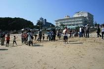 地曳網1 当館眼の前、千鳥ケ浜での地曳網
