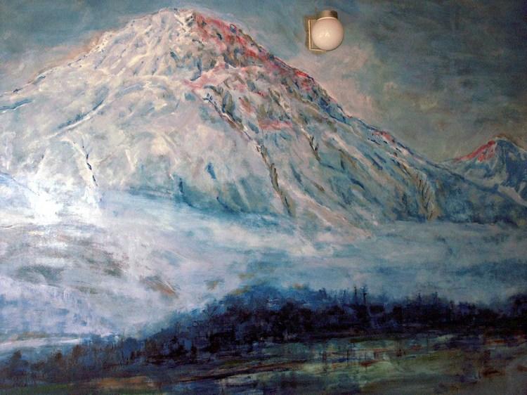 隠しの湯壁絵の焼岳